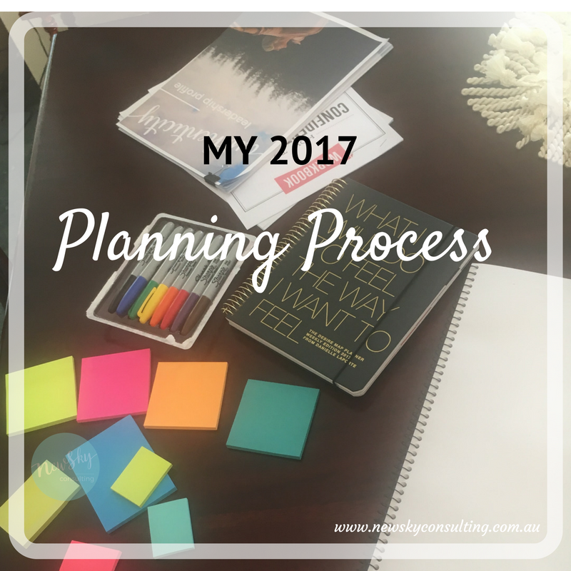 My-2017-Planning-process-blog-picture of a desk with sticky notes and pens